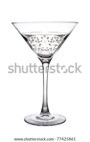 A Clear Martini Cocktail on white background