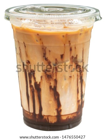 A clear plastic cup with flat slotted lid for iced mocha coffee #1476550427