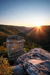 A clear sky sunset at Lindy Point in early October overlooking the Blackwater Canyon in Davis, West Virginia.