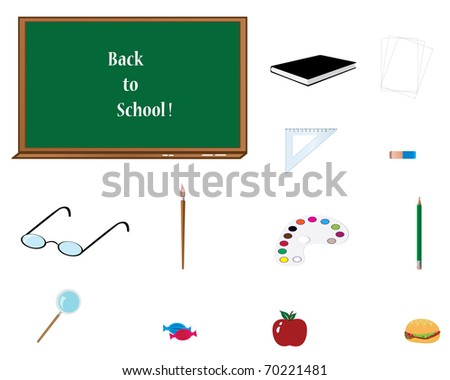 A clip art illustration of school elements over white