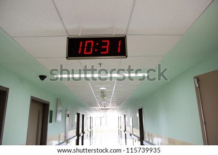 A clock in the hospital corridor.
