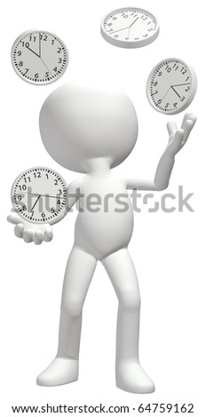 A clock juggler juggles four time clocks to manage a busy schedule