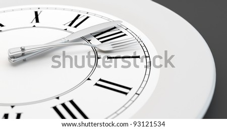 A clock like plate showing the time for a meal