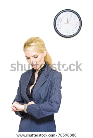 A Clock Ticks In A Studio Portrait Of A Business Woman Looking At The Passing Hours And Minutes On Her Watch In Routine Corporate Time Schedule Conceptual