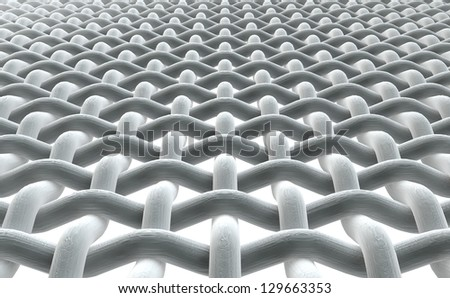 A close microscopic render of a simple woven fabric on a white background