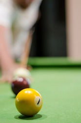a close shot of pool table and ball