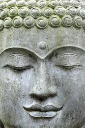 A close up face of a stone buddha