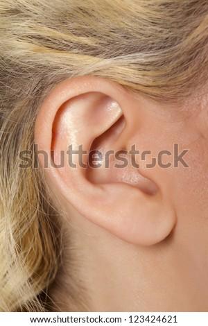 A close up image of human ear