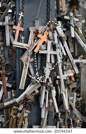A close-up look of the Hill of Crosses. This is a site of pilgrimage near the city of Siauliai, in Lithuania, Europe