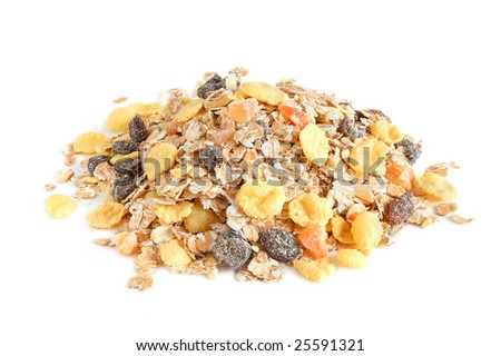 A close up macro of delicious healthy muesli with dry bits of pawpaw, pineapple, prunes and raisins