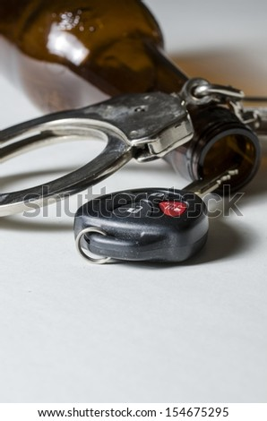 A close up of a beer bottle with car key and handcuffs.