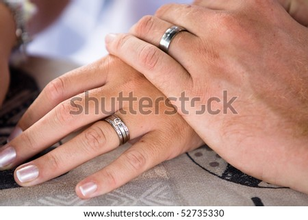 A close-up of a Caucasian bride and groom holding hands clearly showing their wedding rings.