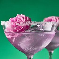 A close up of a cocktail glass with rose gin and tonic decorated with salt crystals and miniature rose flowers