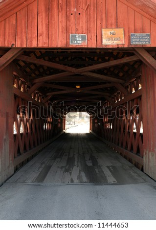 A close-up of a covered bridge in rural Vermont.