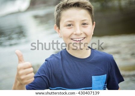 A close up of a cute 8 year old boy Stock photo ©