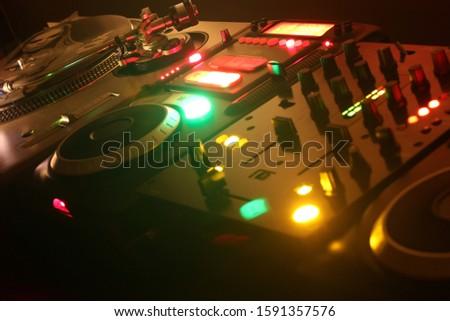 A close up of a DJ audio equipment.