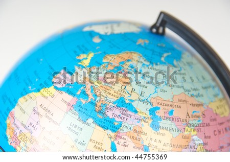 A close-up of a globe. Focus on Europe.