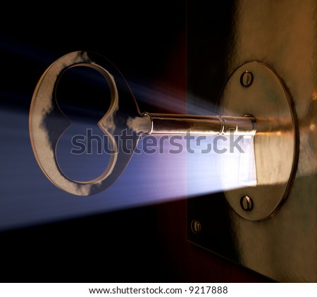 A close-up of a key inside the key hole.