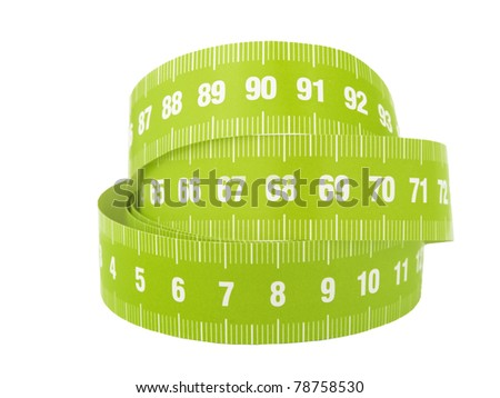 A close up of a measurement tape on a white background