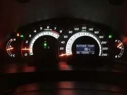 A close up of a modern RPM meter, speed meter, fuel indicator and with temperature digital indicator on a car's dashboard.