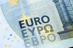 A close-up of a new 5 Euro bank note with added Bulgarian EBPO writing