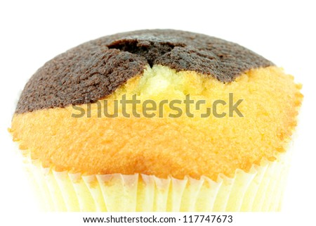 A close-up of a plain and chocolate muffin on a white background.
