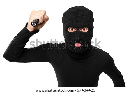A close up of a robber with robbery mask holding a flashlight isolated against white background