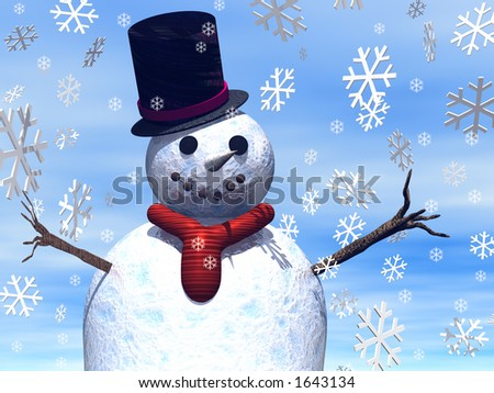 A Close up of a snowman with snowflakes