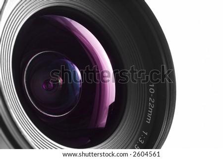 A close-up of a wide angle camera lens - stock photo