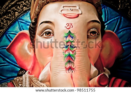 A close-up of an idol of Lord Ganesha