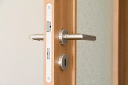 A close up of an indoor door handle of the apartment.