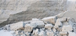 A close-up of beachsand erosion, sand cliff along the beach in Wildwood Crest New Jersey