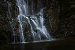 A close up of Cascade Falls at Patapsco State Park Avalon area.