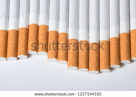 A close-up of cigarettes. A view from above #1257104182