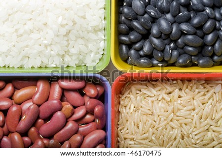 A close up of dried rice and beans. - stock photo