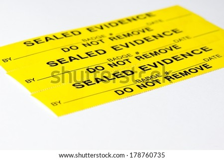 A close up of evidence tags.