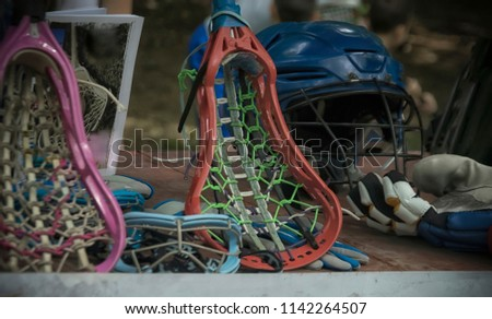 A close-up of lacrosse sporting equipment