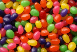 A close up of multi-colored jelly beans.