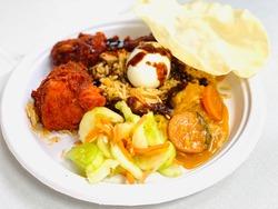 A close up of Nasi Kandar, Malaysian food. Selected focus applied.