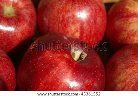 A close up of red apples in a basket