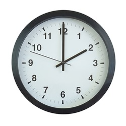 A close up of the black and white wall clock showing 2.00 time isolated on the white background.