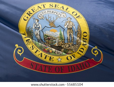 A close-up of the Idaho State Flag waving in the wind.