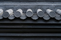 A close-up of the wall and eaves of Chinese classical architecture