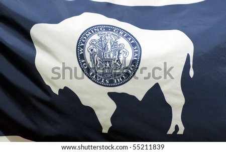A close-up of the Wyoming state flag waving in the wind.
