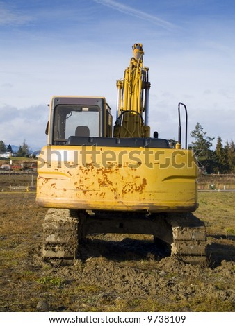 A close up on a big excavator.