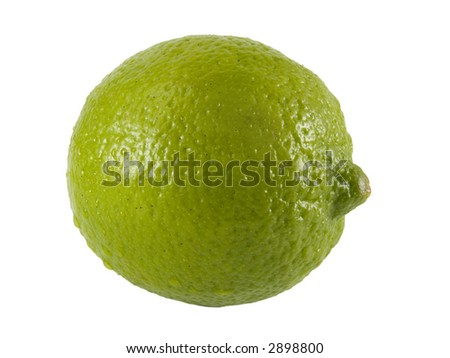 a close up on a fresh lime isolated on a white background