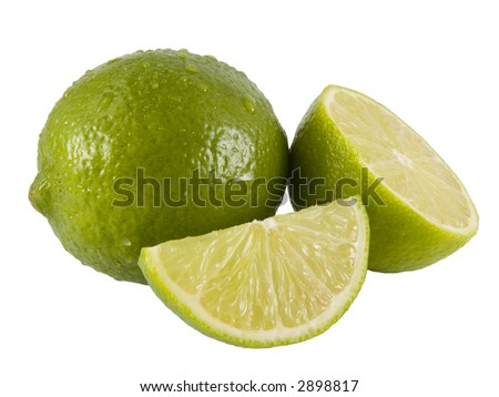 a close up on a fresh limes isolated on a white background