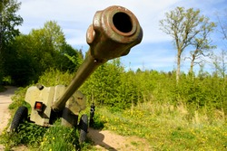 A close up on a long metal barrel of a big Second World War cannon with a protective element behind the rifle and two rubber covered wheels standing in the middle of a forest or moor in Poland