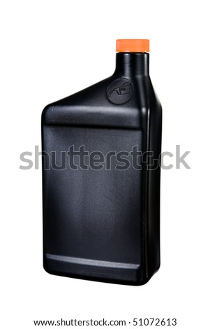 A close up on a plastic oil container isolated on a white background.