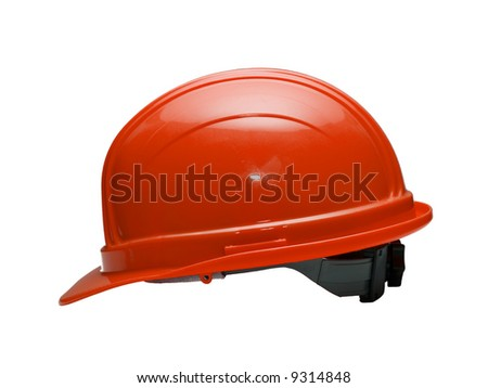 A close up on a red hard hat isolated on a white background.
